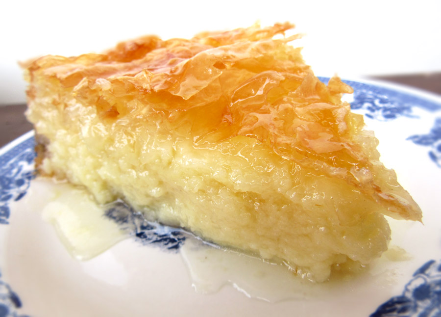 Galaktoboureko -  (Pronounced Gala-teb-oo-lick-oh)   This is a great (and our favorite) Greek dessert. This age old Greek dessert is made of crispy phyllodough, sprinkled with melted butter. Greeks use custard & scented syrup to increase the taste of this food.
