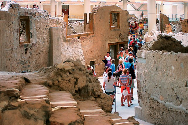Ancient archaeological sites in Akrotiri   -  See the village left behind after the devastating volcanic eruption that made the island uninhabitable. The site is well maintained and we highly recommend getting a guide to show you around the site and discuss the history of the island, the eruption, and the following destruction.