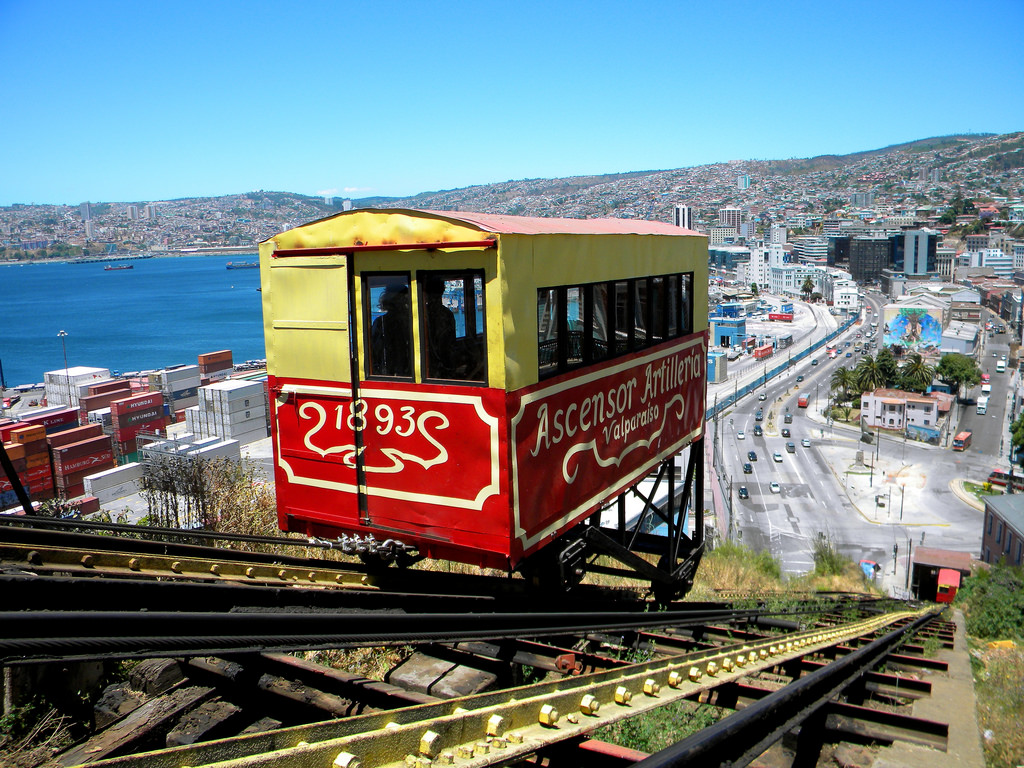 "Ride the Historic Funicular Elevators   -  Cost $0.50 -  Valparaiso is a city made up of 45 hills. To make getting around Valparaiso easier, the city has installed funiculars (huge, fancy elevators). The best known is the  Ascensor Concepción  funicular which dates back to 1883. Our favorite is the  Ascensor Reina Victoria  funicular, which arrives to a view the ""iconic Valparaiso postcard shot."""