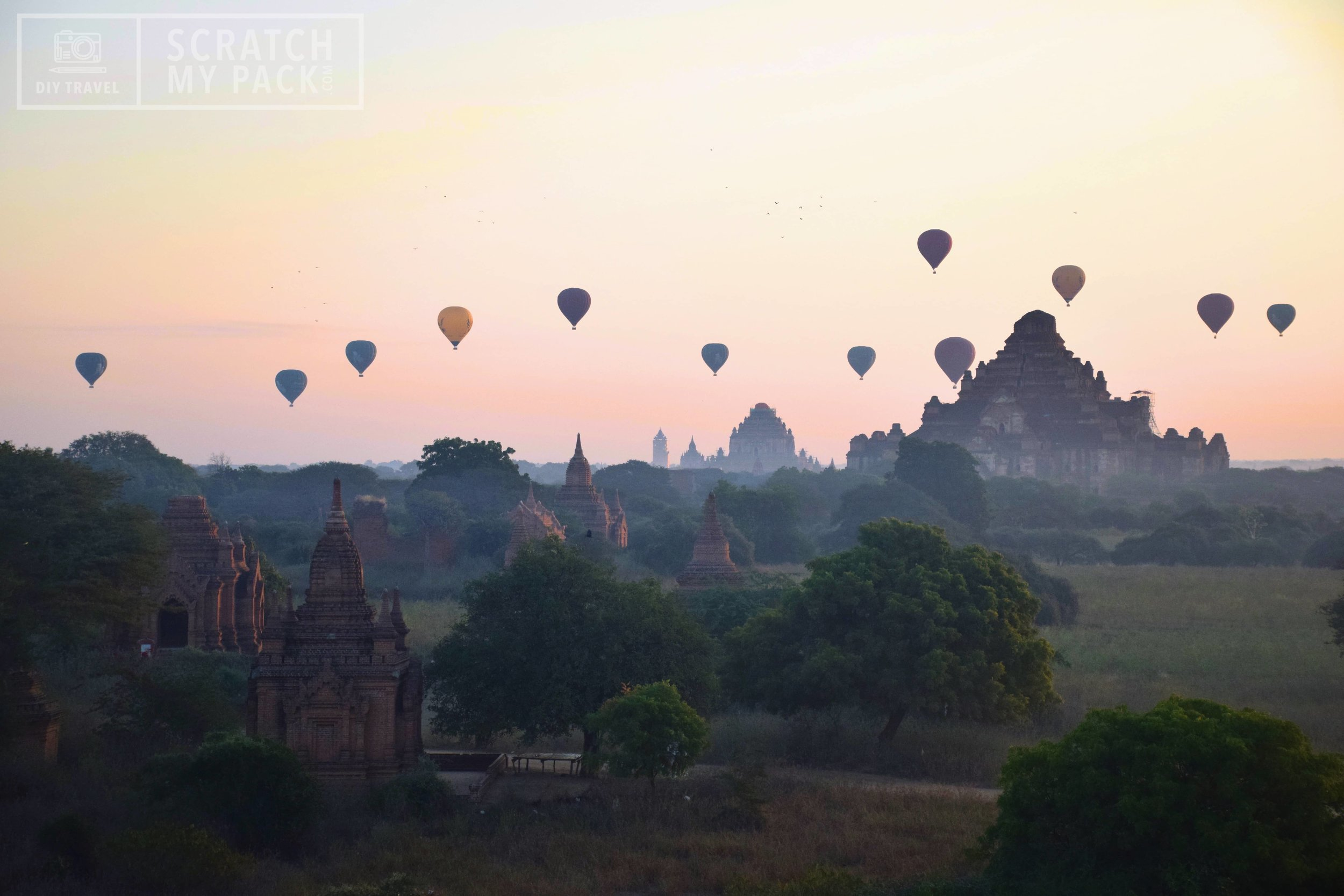 Bagan: Take a hot air balloon ride during sunrise