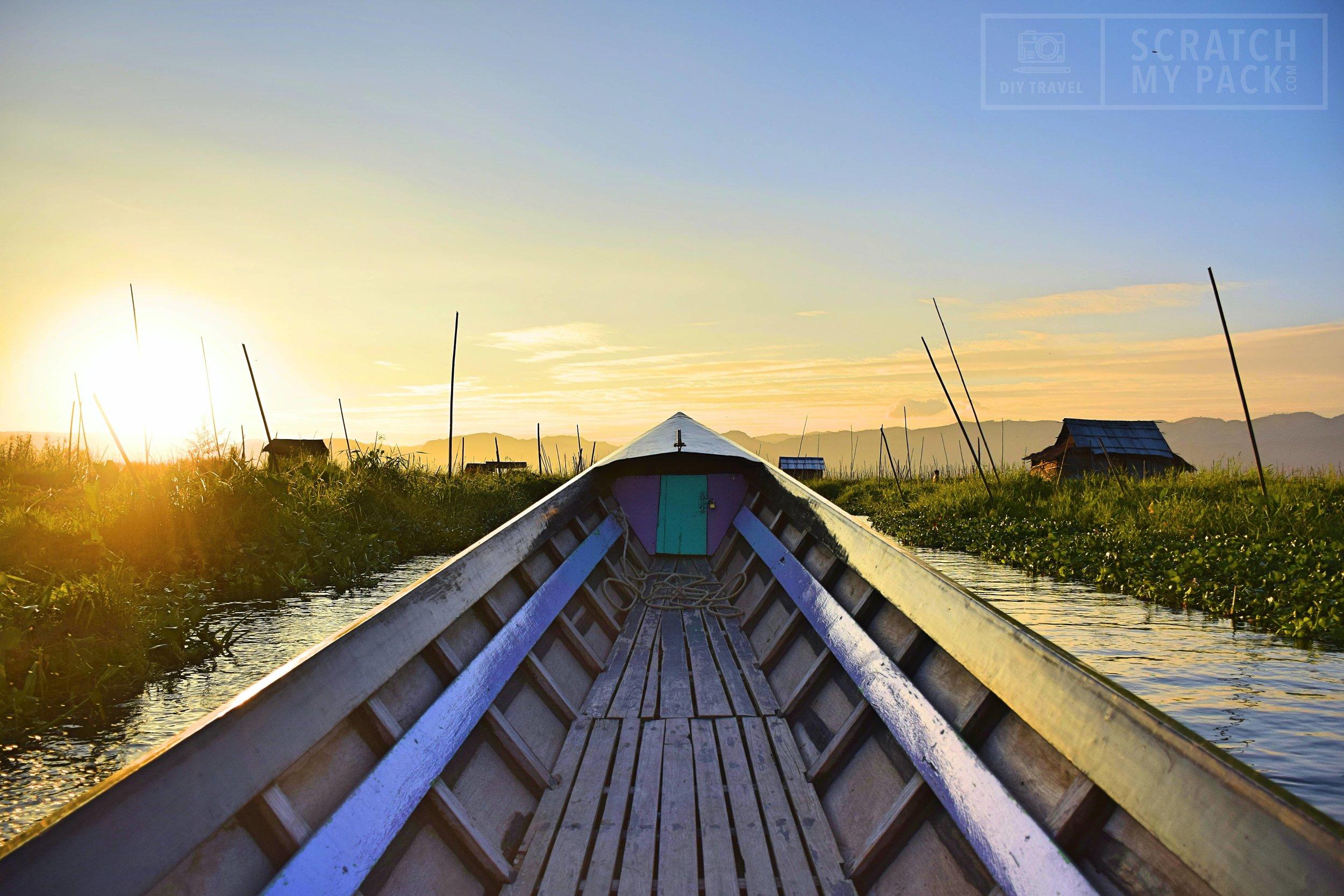 Inle Lake: Take a longboat through a floating village during sunset