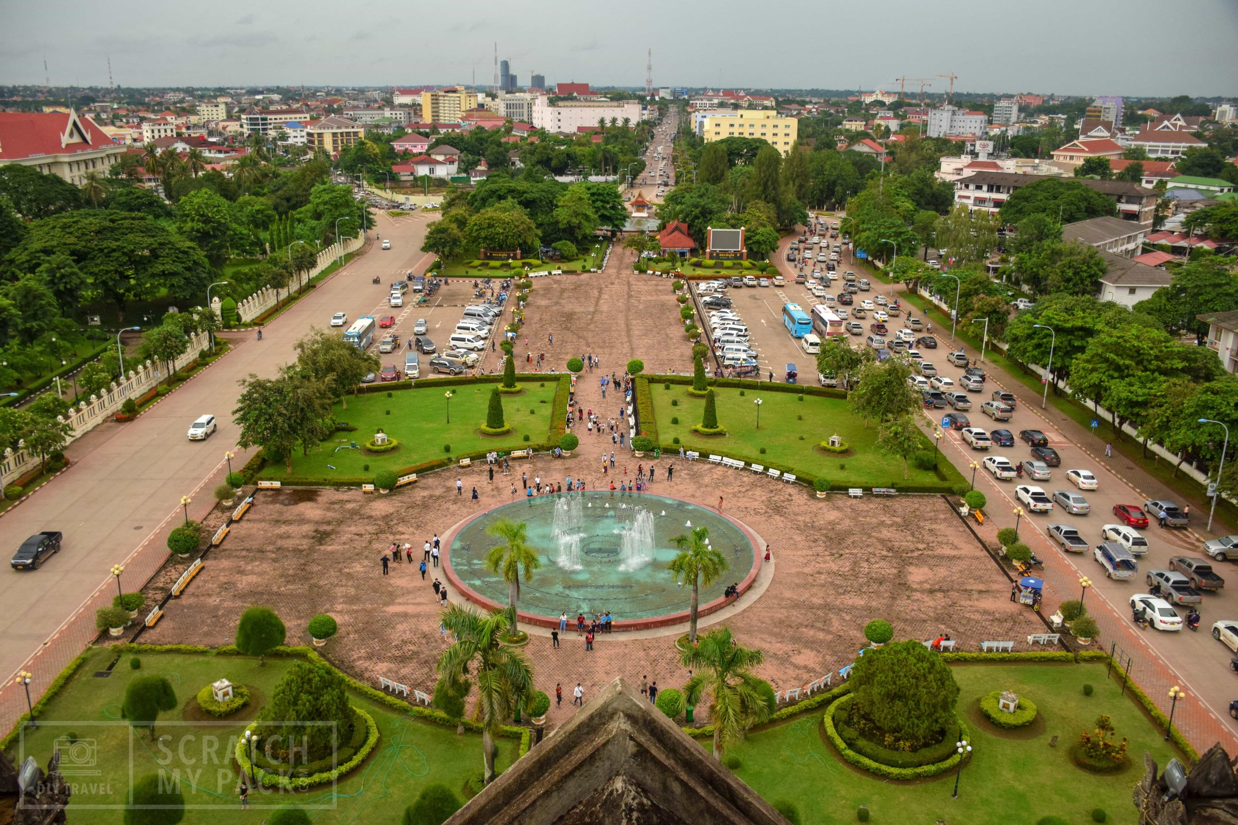 """Vientiane: View of the city from inside the """"Arc de Triumph"""" - The Arc is a gorgeous landmark in the middle of the city, directly down the street from the Presidential Palace. It has the nickname """"The Vertical Runway"""" as it was built with concrete given by the Americans for their airport runways. This was built instead."""