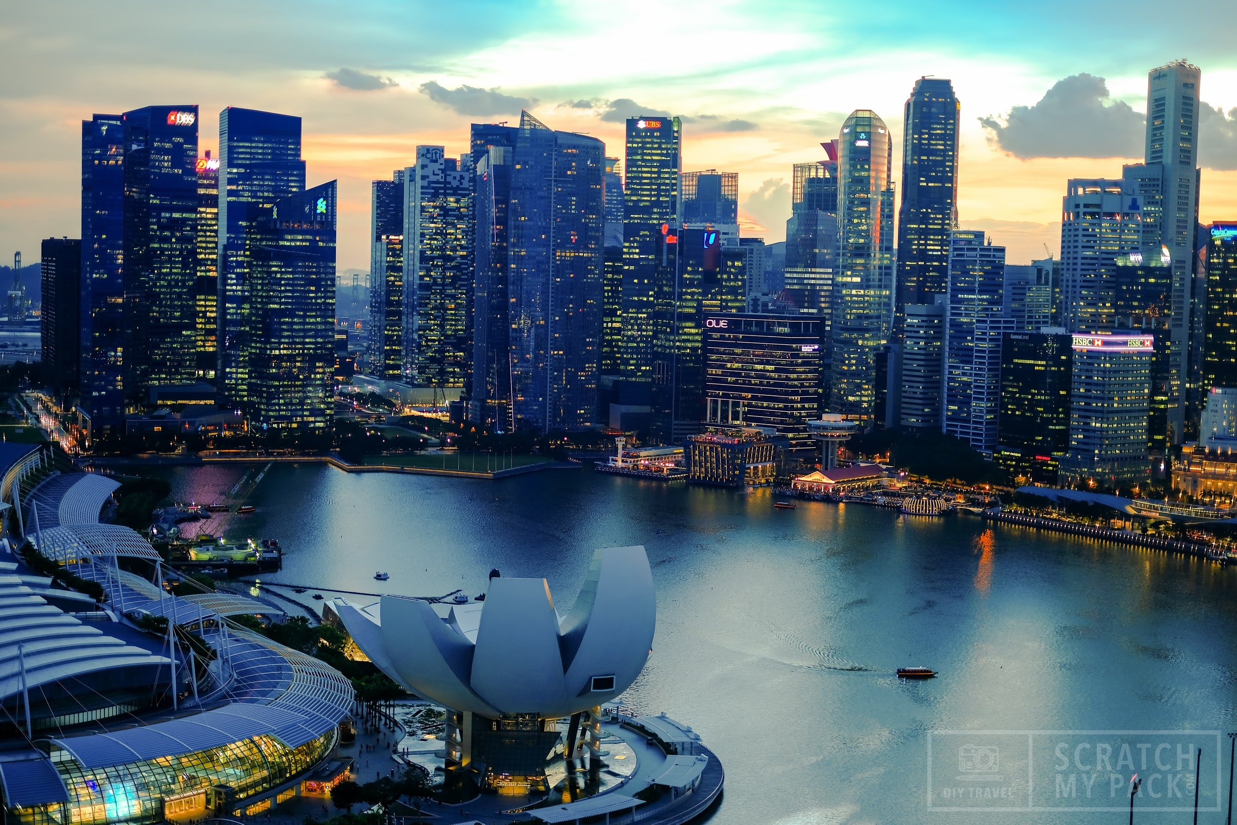 A view of the city from atop the Singapore Flyer