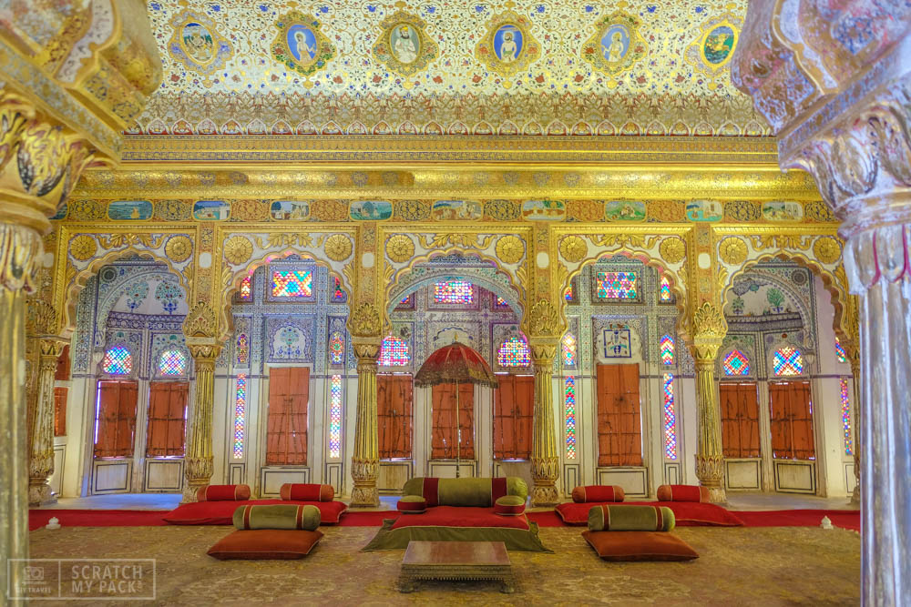 A 'room of passion' inside the fort. Gold, jewels, silk, and stained glass adorn this impressive room. Truly breathtaking the first time you see it in person.