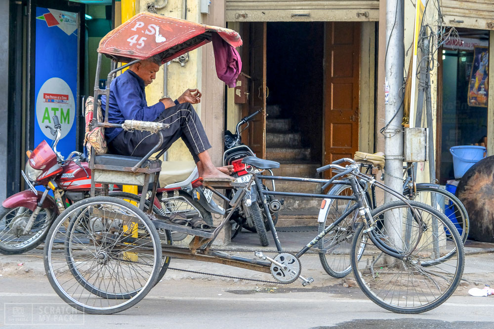 Getting Around The City  - Uber, hired tourist car, taxi, rickshaw (pictured), tuk-tuk or your own two feet, Agra is easy to get around and without shortage of drivers. Make sure when you are booking your hotel (we recommend an awesome one down below) is in the area next to the Taj Mahal itself. Sure, you may pay maybe $4 more a night, but this you will save in transportation cost.  The most important rule if you are taking a tuk-tuk and don't want to overpay is this : download the Uber app (Uber is cheap in India) and put in your route to find what the fare price is - now you know the maximum amount you should pay for a tuk-tuk.