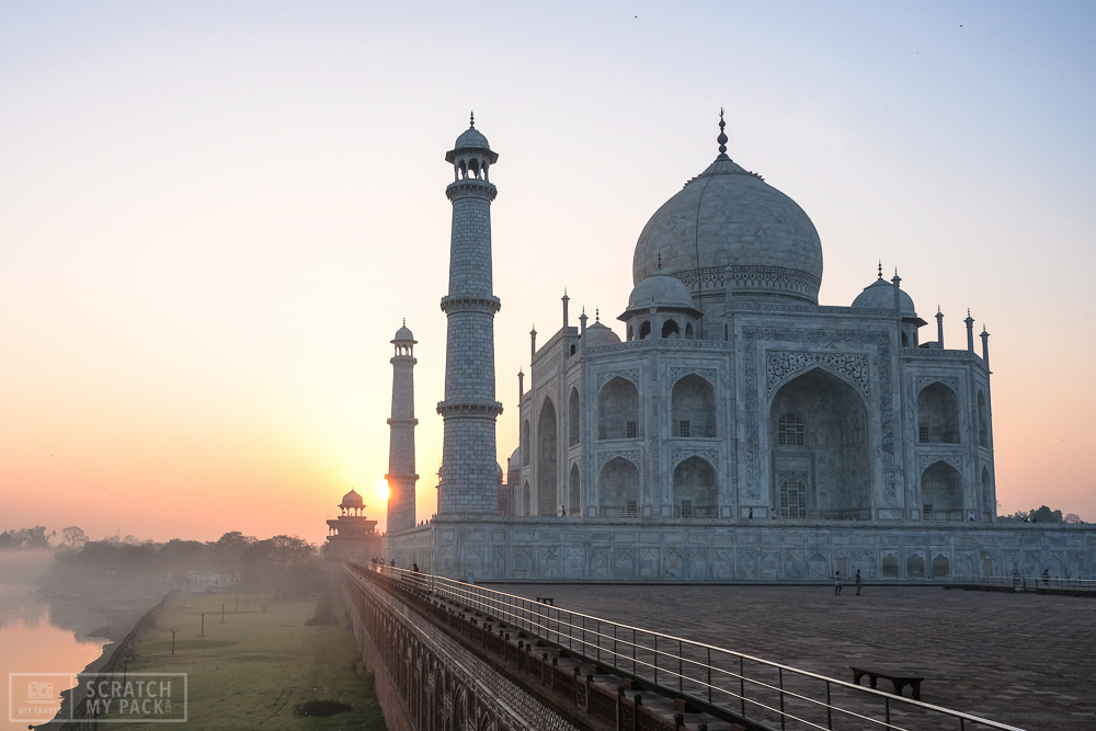 Mosque Corner (Sunrise)  - Head directly for the corner of the mosque  (East side of the Taj)  as soon as the light starts to shine. This will give you amazing shots of the Taj, and the river off to the left as the sun rises.