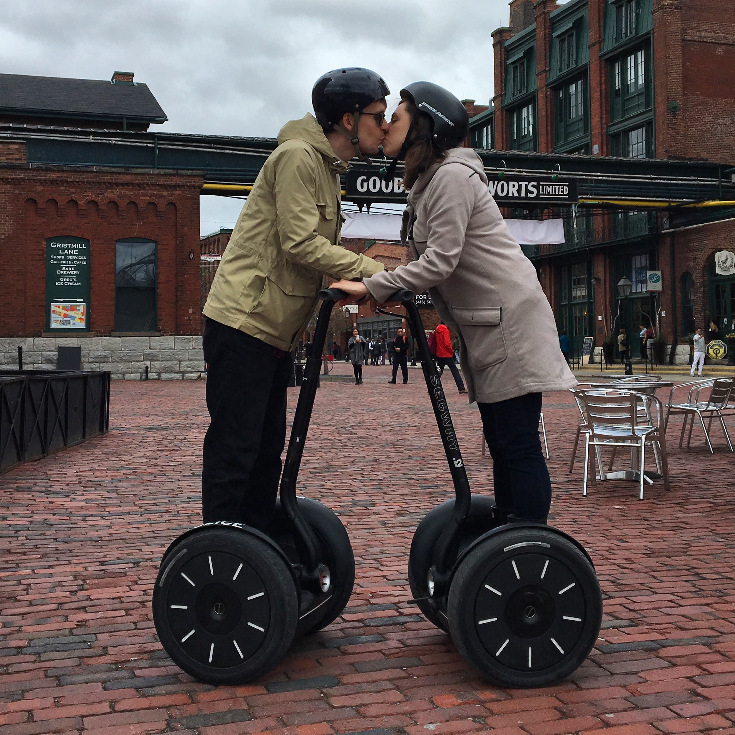 Didn't take a photo of us shopping for our registry, so here's one of us on a segway instead.