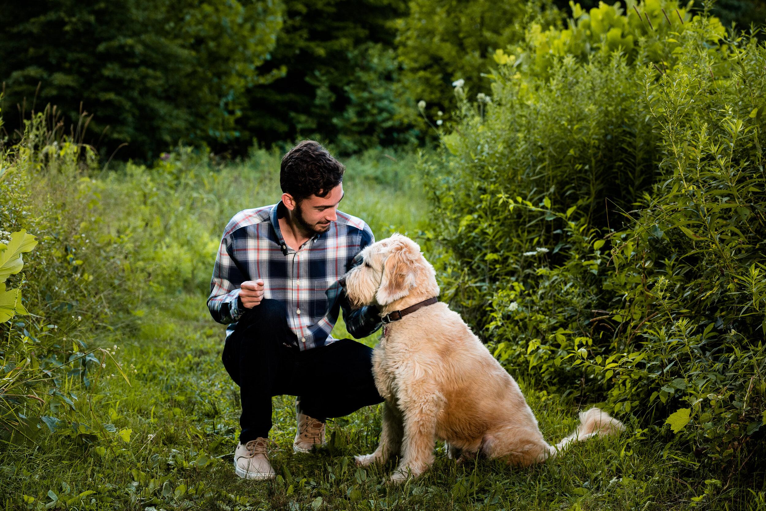 senior photos with dog