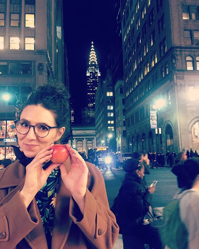 Danielle's about to eat an #apple in the #bigapple. The countdown is on for the #nycwebfest this Saturday. 🍎 #moments
