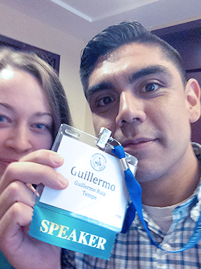 Badge selfie with Tiffany, my research partner in crime!