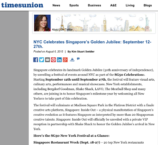 """NYC Celebrates Singapore's Golden Jubilee: September 12-22""    -- Kim Stuart Swidler, timesunion, August 6, 2015"