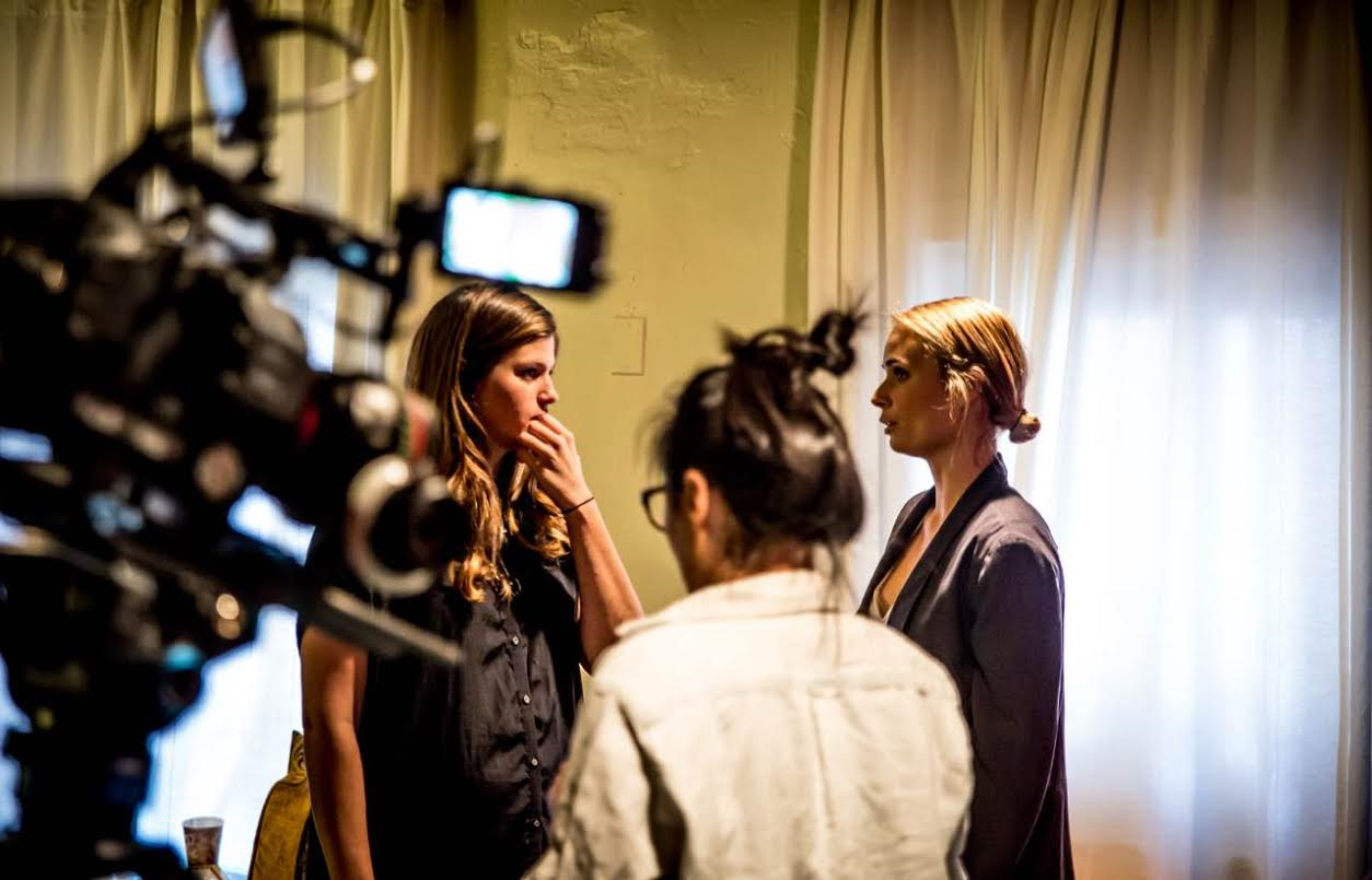 Lisa Baron with co-writer and lead, Malin Barr. Angel Yu in shot for HMU.