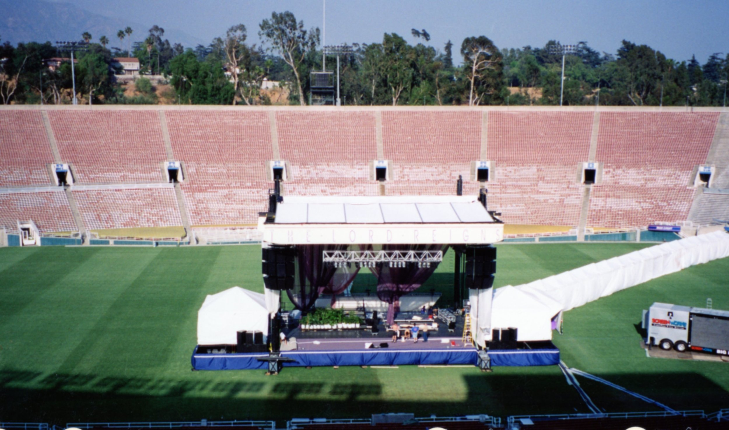 Stage Set-up at the Rose Bowl