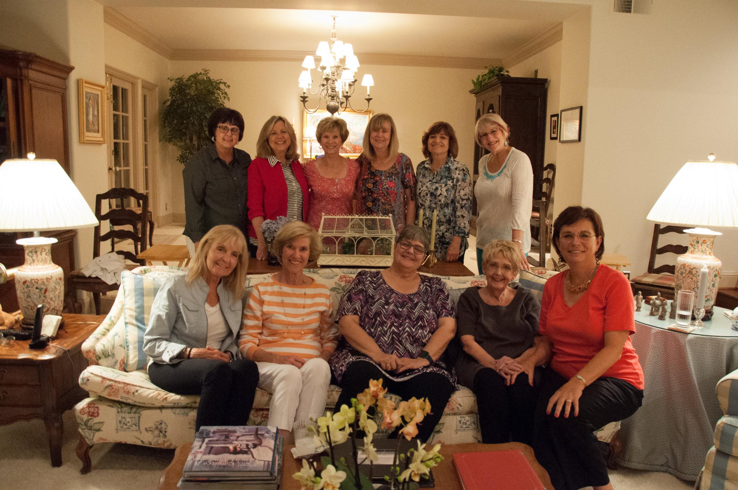 Jackie and Carolyn hosted the team for dinner. Back Row: Kim Johnson, Cheri Dale, Jill Austin, Marty Russell, Maureen Moore, Susan Booker. Front Row: Barbara Willett, Carolyn Shea, She Brown, Jackie Rettberg, Luann Budd.