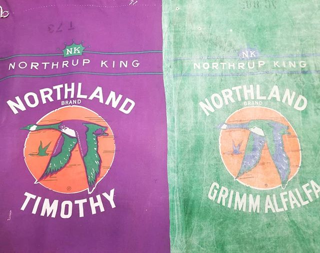Working on a custom order using vintage cloth seed bags. #thevintagetin #shoplocal #mnmaker #mnmade #lovemyjob #coolstuff #custom #customorder #reclaimed #repurposed #upcycled #recycled #reused #seedbag  #clothbag #northrupking #vintage #northlandbrand #northland #farming