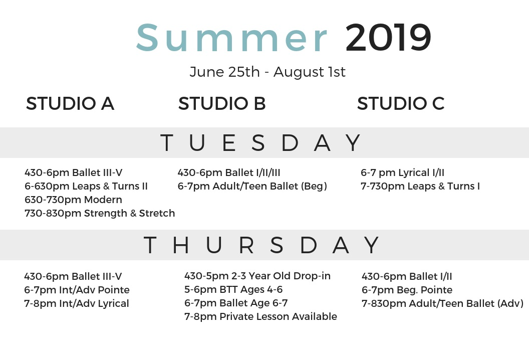 Summer Schedule - Don't see a class that works for you? Click here to learn more about our private and custom lesson class options.