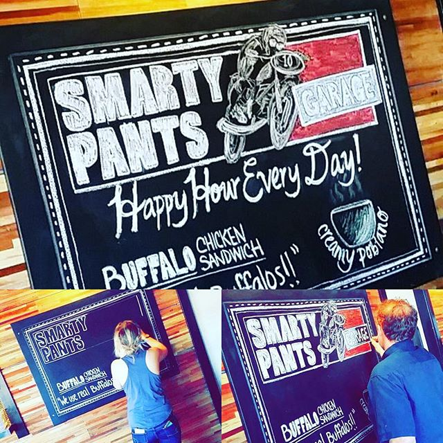 Our newest chalk board by our own talented Jillian. It's a family affair here at the garage, and her pops even helped a little! #smartypantsgarage #talentedstaff #chalkart