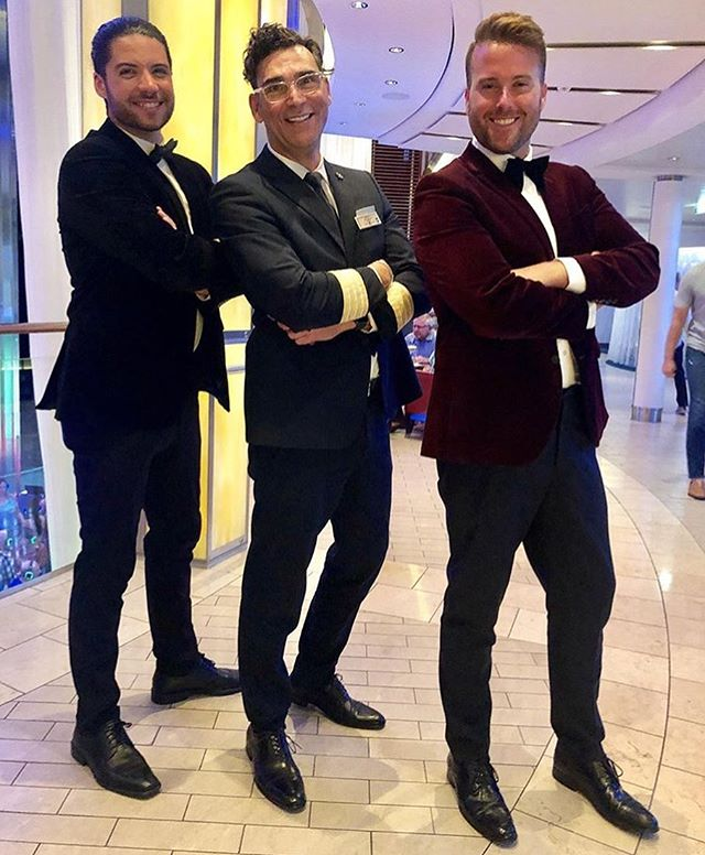 If #celebritysolstice Hotel Director @valentinoatsea ever wants a new job, he's IN! @celebritycruises @barryballartists . . . . . #shadesofbuble #shadesatsea #michaelbuble #michaelbublé #tribute #singing #singinggroups #instasinging #music #instamusic #musician #musicians #singers #boyband #americasgottalent #xfactor