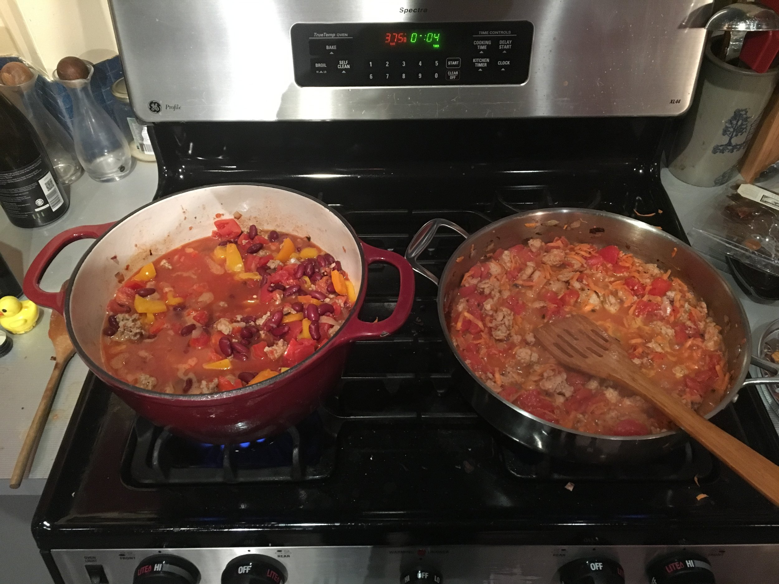 The lazy man's way of doing a diet - cook two GIANT meals to feed you for the entire week.
