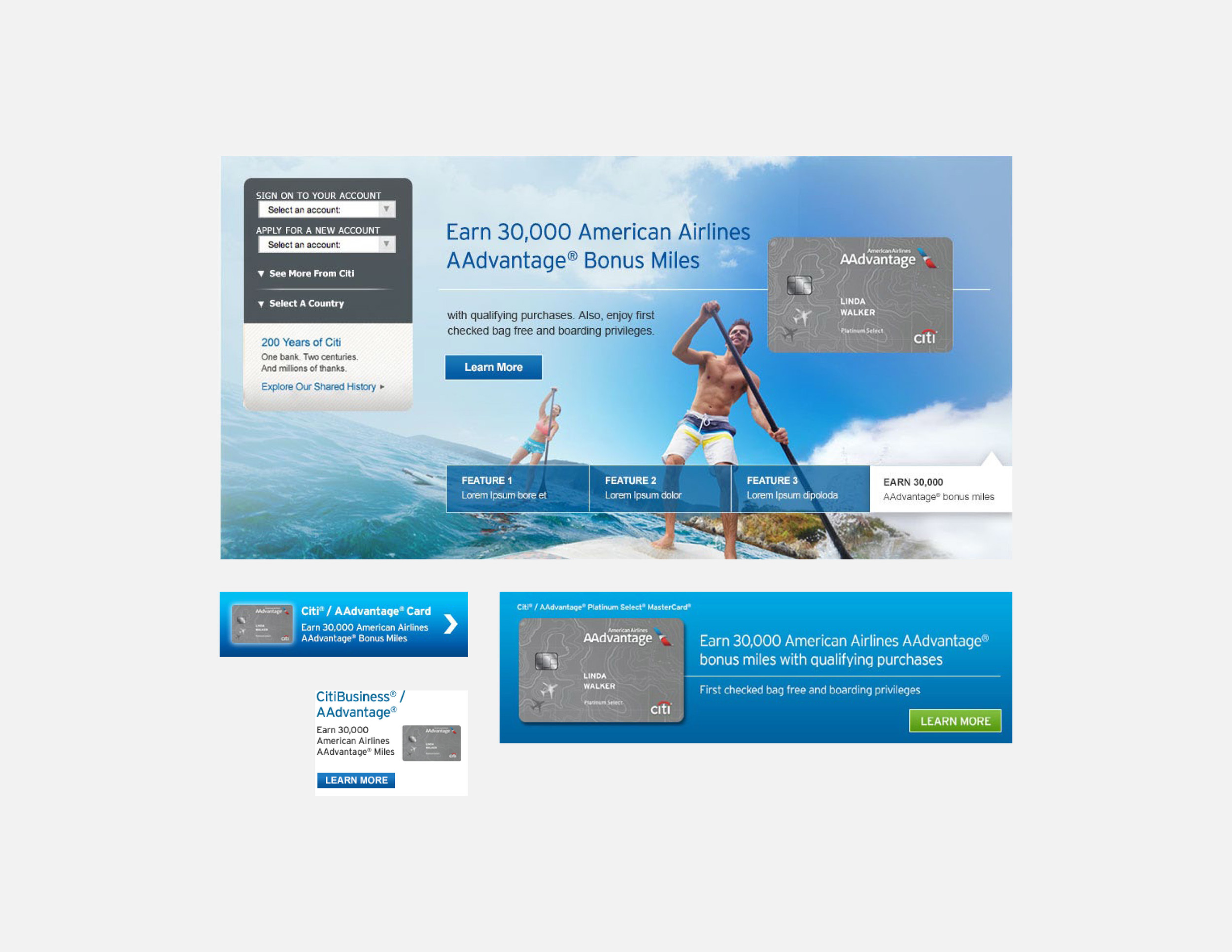 Citi websites and marketing banners
