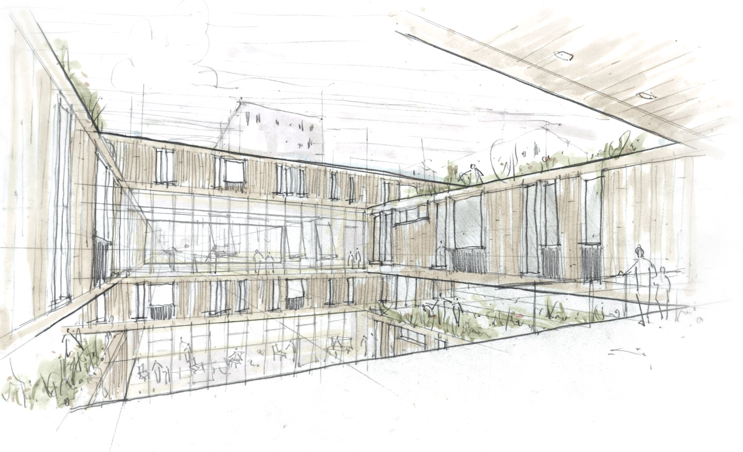 Concept Sketch 03 / Interior Courtyard and Shared Spaces