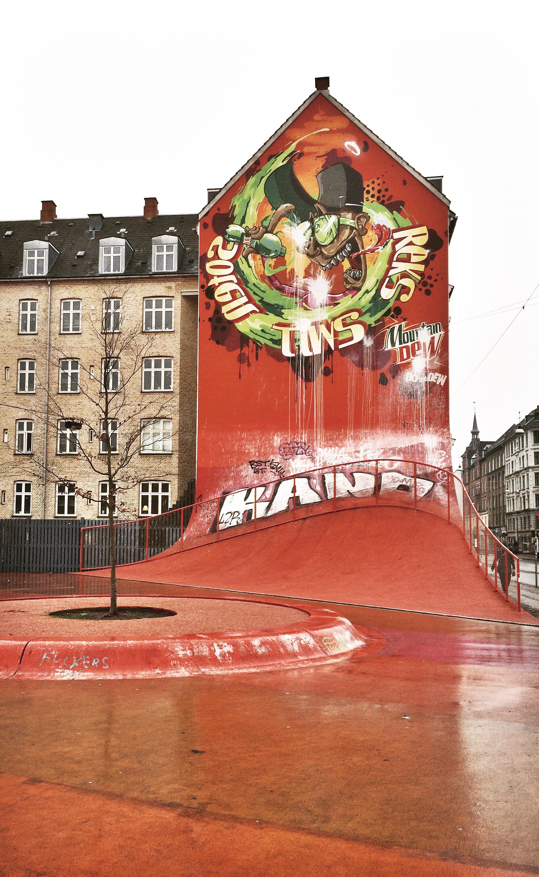 Superkilen, red wall quarter-pipe, photo by author