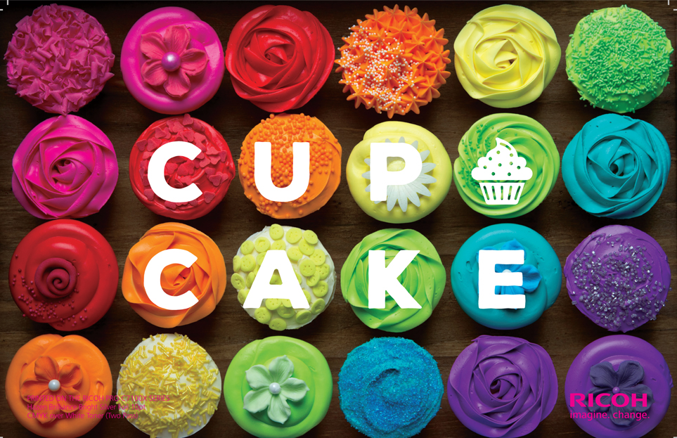 """Beauty Image - Cup Cakes  Demonstrates Metallic effect by masking substrate with a """"Rich black"""". Suggested Media: Silver or Gold Foil, 10pt Output: 12""""x18"""" and trim Process: CMYK"""