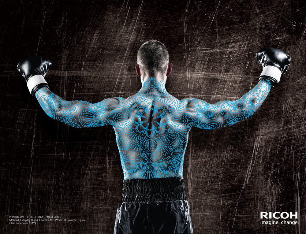 """Muscle Back Pattern  Demonstrates Clear Toner Enhancement cropped to a specific region. Suggested Media: Glossy 80 Cover Output: 12""""x18"""" and trim Process: Clear Toner over CMYK"""