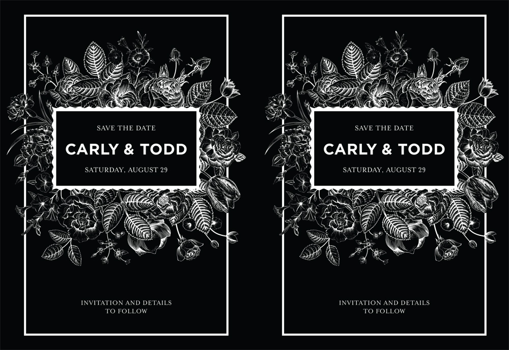 """Wedding Invitation Metallic Effect  Demonstrates Metallic effect by masking substrate with a 'Rich black' with fine lines and graphics. Suggested Media: Vanity Pearl Super Smooth 130 Cover or heavier Output: 12""""x18"""" and trim Process: CMYK"""