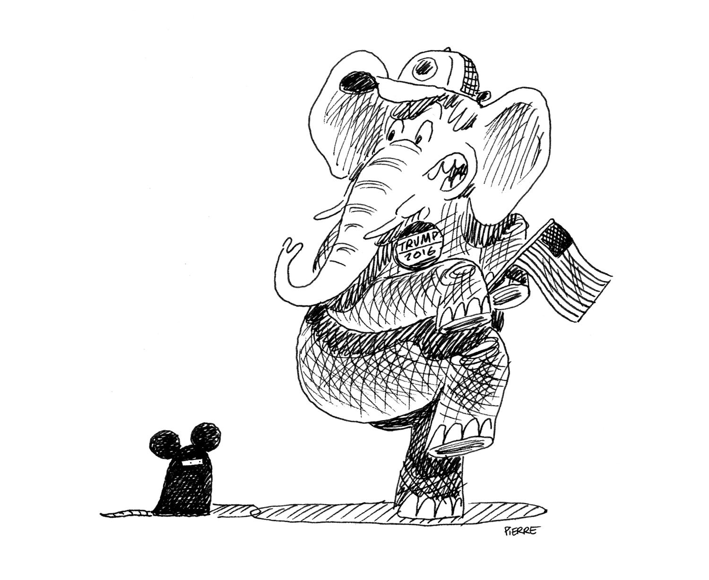 Un éléphant, ça trump énormément. © Pierre Dubois / Février 2016