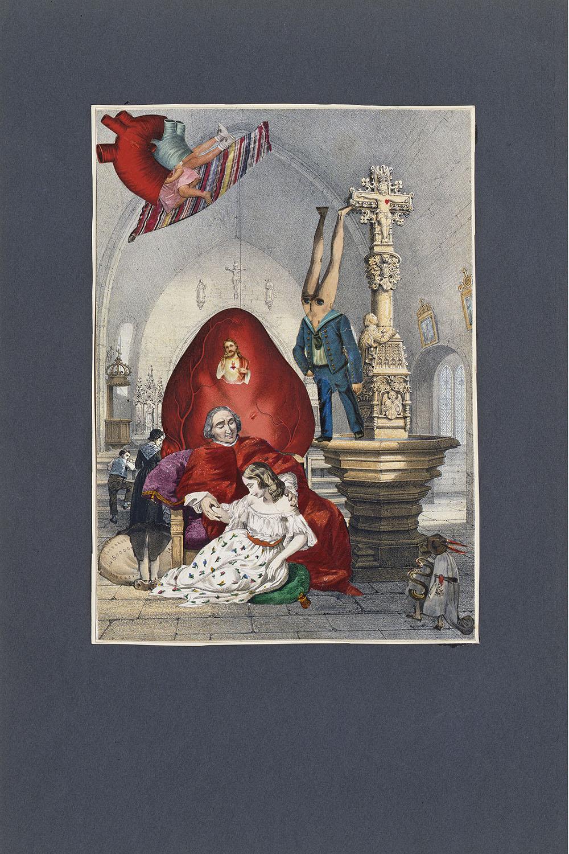 Jacques Prévert,  Les libertés théologales , [?], collage sur lithographie, 50 x 32,5 cm, Collection privée Jacques Prévert © Fatras/Succession Jacques Prévert