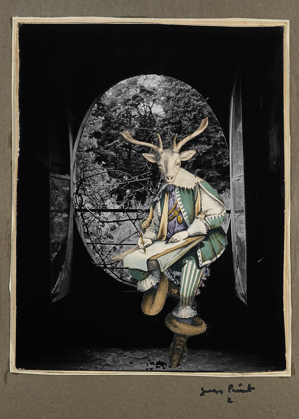 Jacques Prévert,  Le Désert de Retz , [?], collage sur photographie d'Izis, 50,6 x 34,6 cm, Collection privée Jacques Prévert. © Fatras/Succession Jacques Prévert