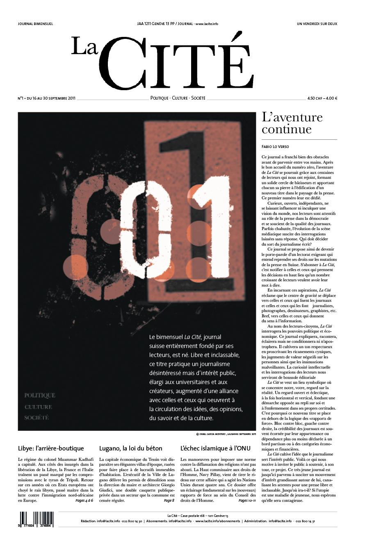 16 septembre 2011 - Édition n° 124 pages