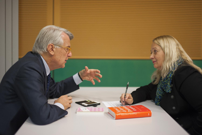Ferruccio de Bortoli avec Luisa Ballin. © Giancarlo Fortunato / Genève, 31 octobre 2017