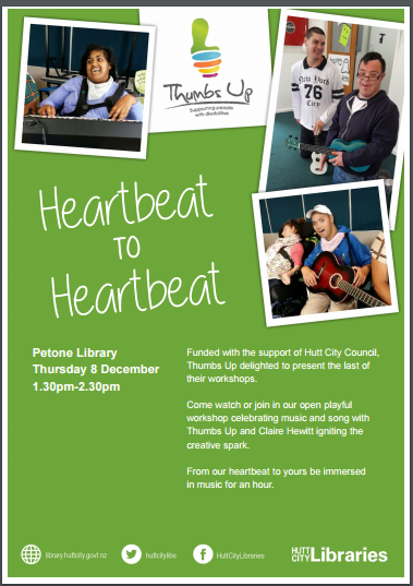 Poster for our event at the Petone Library