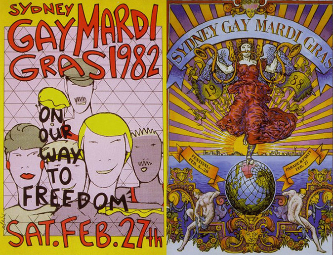 Posters from Mardi Gras in 1982 and 1988
