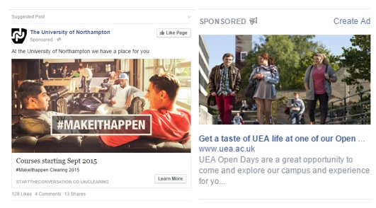 Examples of Facebook suggested post placement and side bar advertising