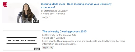Examples of video clearing guides on YouTube