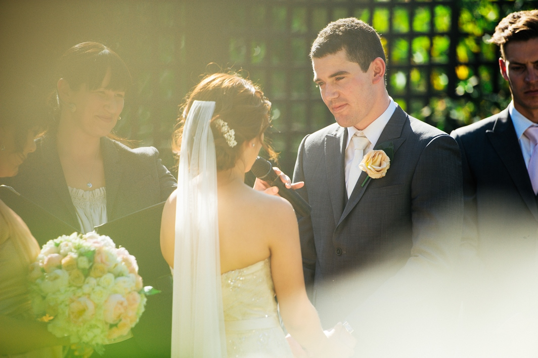 Stephanie saying her vows. Photo by Luke Greaves
