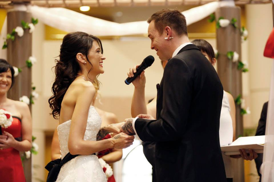 Lampin saying his ring vows. Photo by Alyce Capurso