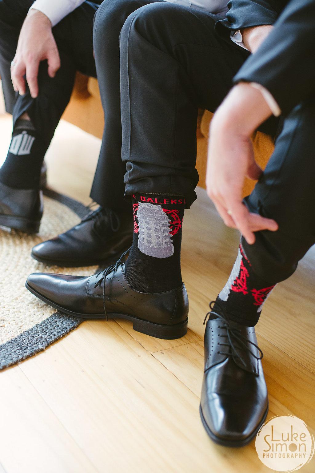 Dr Who groom socks