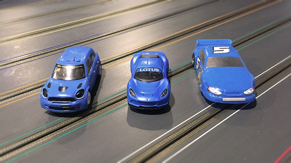 The Mini Cooper, Lotus and Soft shell slot cars