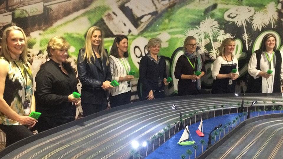 Woman slot car racing