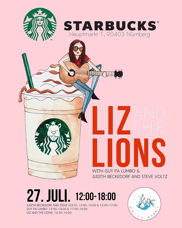 "I'M PARTNERING WITH STARBUCKS!⁠ .⁠ Starbucks here in #nuremberg asked me to collaborate with them and do a ""Lion themed"" event. On July 27th we're going to turn our whole city into Lions! GET THIS: Starbucks will have a special LION FRAPPUCINO (insert me crying tears of joy) served while I'm playing a concert! We're calling everyone in this city to live more wild and free like Lions! ⁠ .⁠ Even better: we'll have supporting acts from @guy.palumbo and Judith Beckedorf and Steve Voltz! ⁠ .⁠ .⁠ This is going to be epic:⁠ YOU'LL NOT WANT TO MISS THIS!⁠ .⁠ .⁠ SAVE THE DATE: JULY 27th Starbucks: Hauptmarkt 1, 90403 Nürnberg. 12:00-18:00! ⁠ .⁠ .⁠ #Lizandthelions #starbucksconcert #starbucksnuremberg #starbucksnürnberg #starbucksmusic #frappucino #imalion #bealion #latl #nürnbergmusik #nurembergmusik"