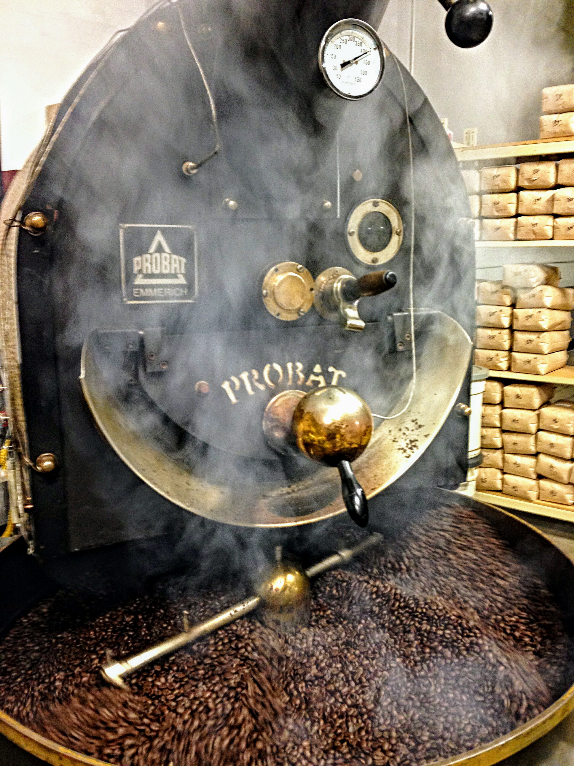 Probat Coffee Roaster in action