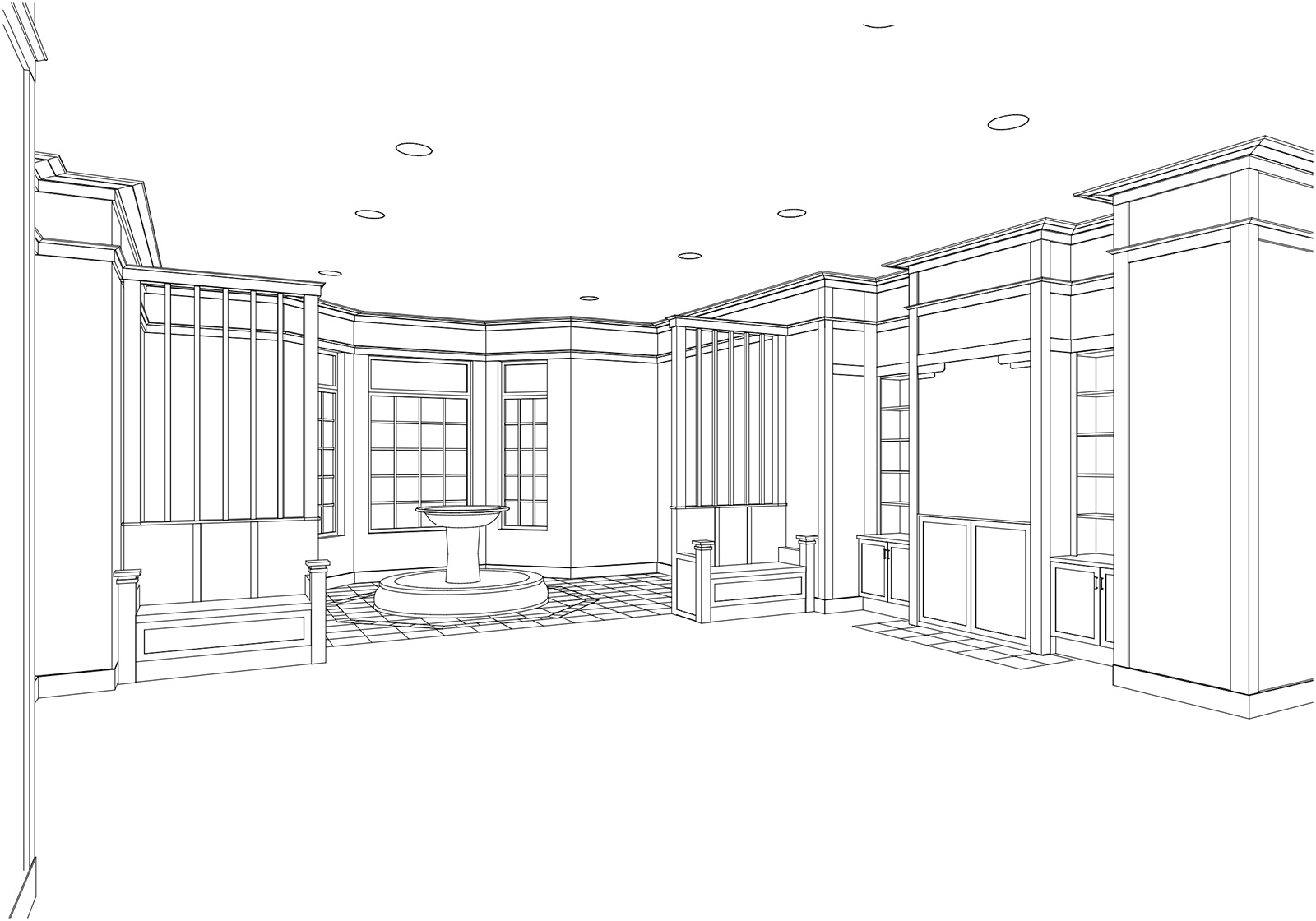 3D model of main lobby   (courtesy of Kenneth E. Hurd & Associates)