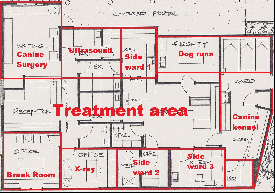 Old building floorplan with current use overlay