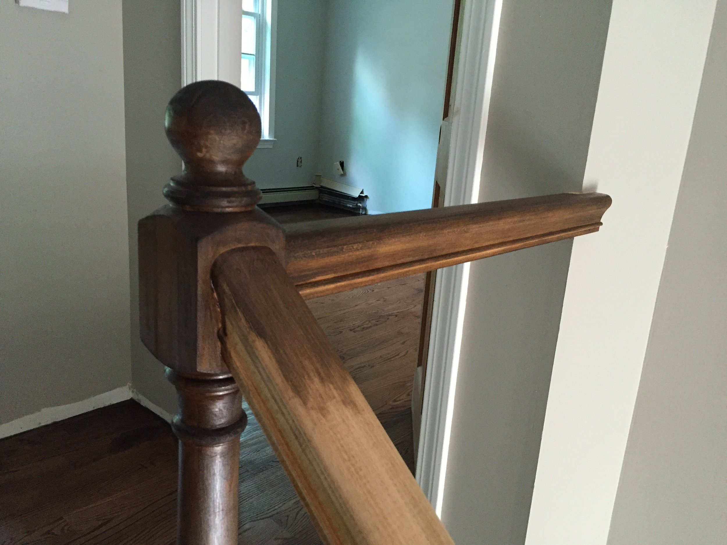 STAIR RAILING - 1 coat of Minwax Jacobean 2750 - No Poly