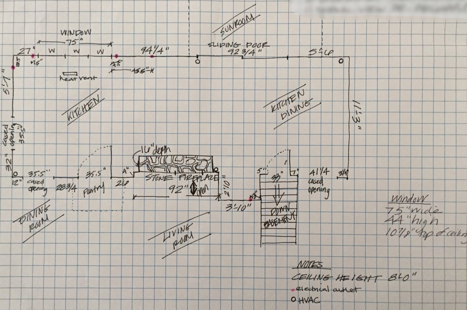 Sketch I provided to my kitchen cabinet designer to determine a layout.
