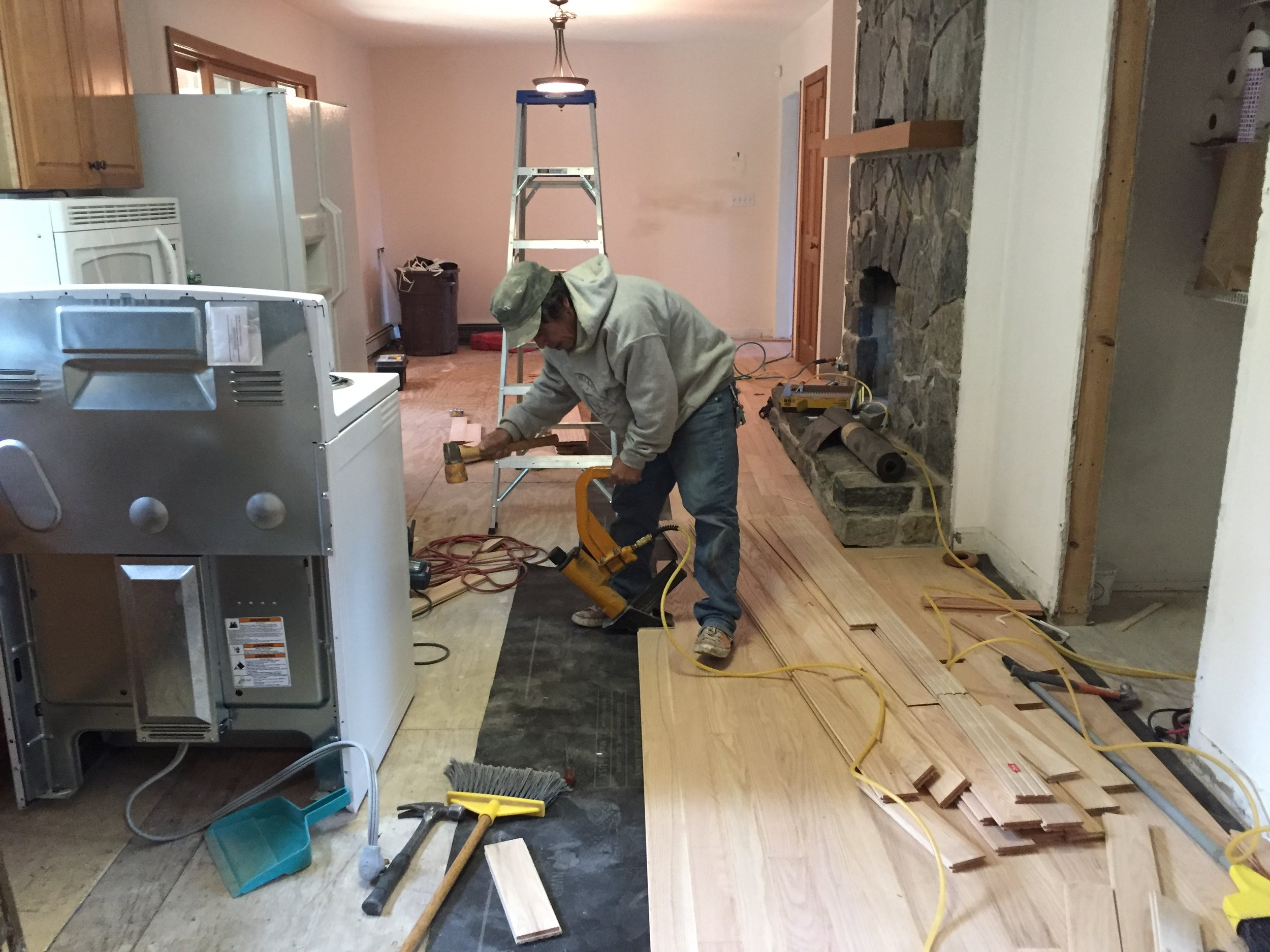 Hardwood flooring being installed